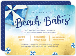 Watercolor Beach Babes Getaway Invitation