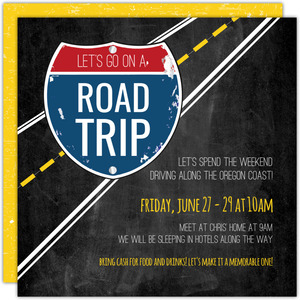 Interstate Road Trip Getaway Invitation