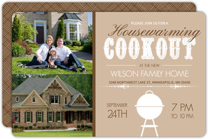 Brown Backyard Cookout Housewarming Invite