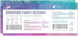 Pink and Purple Watercolor Getaway Invitation