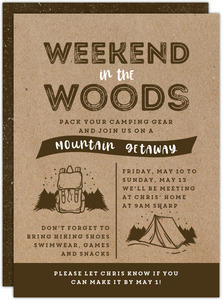 Weekend In The Woods Getaway Invitation