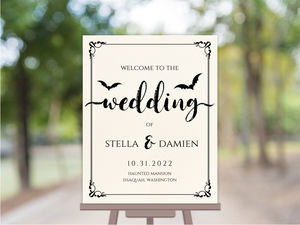 Ornamental Decor Halloween Wedding Welcome Poster