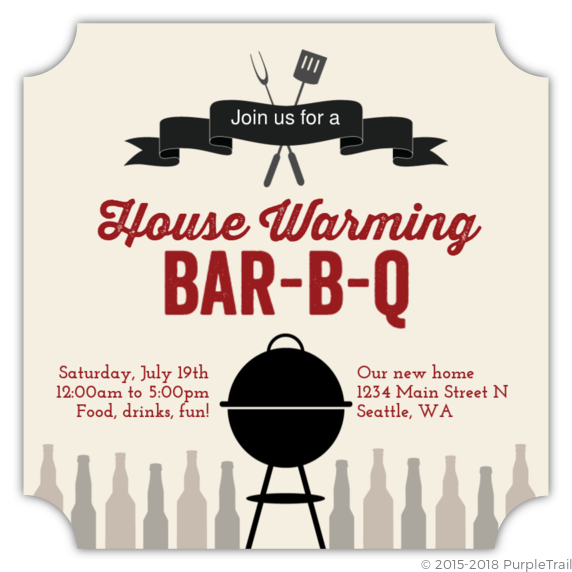 Banner And Grill BBQ Housewarming Party Invitation