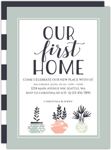 Modern Plants First Home Printable Housewarming Party Invitation