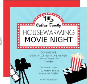 Movie Night Printable Housewarming Party Invitation