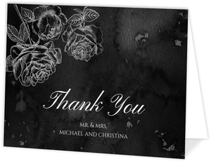 Black Watercolor Roses Thank You Card