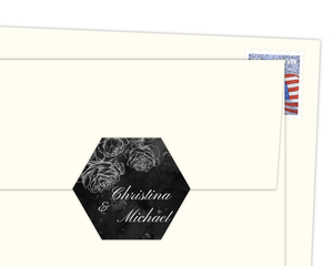 Black Watercolor Roses Envelope Seal