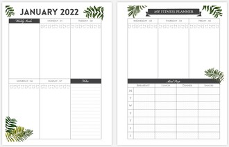 Modern Palm Leaves Fitness 85x11 Weekly Custom Inside Page
