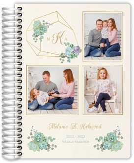 Delicate Succulent Photo Decor Daily Planner