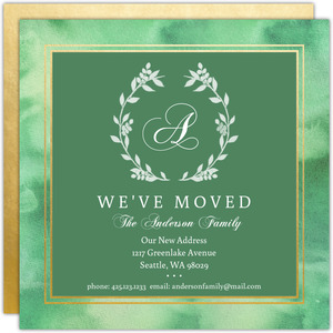 Monogram Watercolor Wreath Holiday Moving Announcement