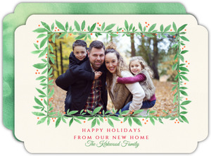 Watercolor Leaf Frame Holiday Moving Announcement