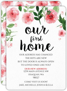 Pink Watercolor Flowers Moving Announcement