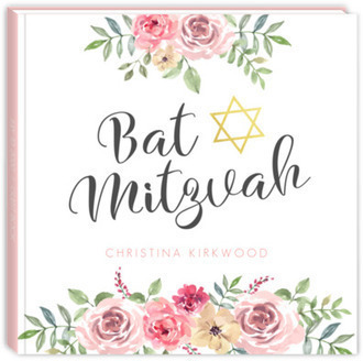 Pink Floral Arrangement Bat Mitzvah Guest Book