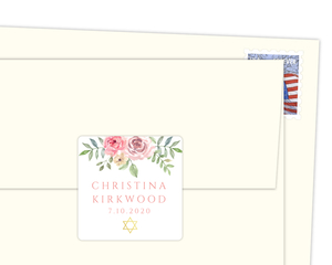 Pink Floral Arrangement Envelope Seal