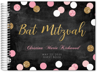 Sparkling Pink and Gold Bat Mitzvah Guest Book