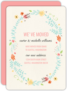 Whimsical Floral Wreath Moving Announcement