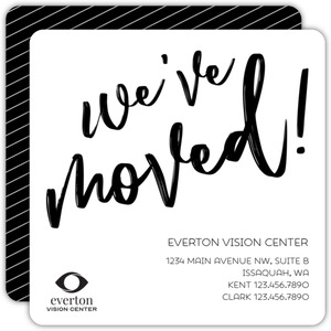 Black & White Simple Business Moving Announcement
