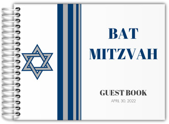 Blue and Grey Star of David Bar Mitzvah Guest Book