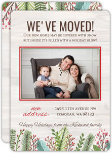 Woodgrain Holiday Leaves Holiday Moving Announcement