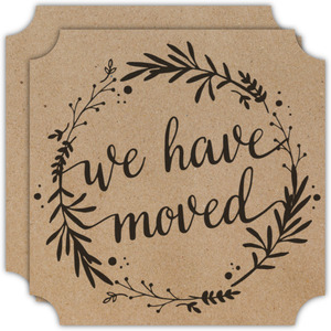 Kraft Floral Wreath Moving Announcement