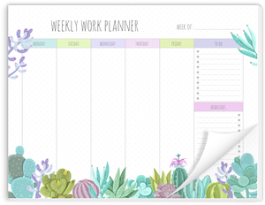 Succulent Cactus Weekly Planner Notepad