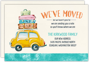 Watercolor Car Moving Announcement Postcard