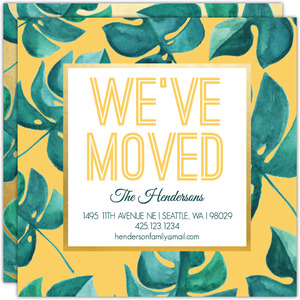 Tropical Watercolor Leaf Moving Announcement