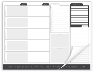 Home and Work Weekly Desk Planner Notepad