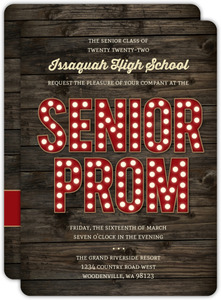 Rustic Dark Woodgrain Senior Prom Invitation