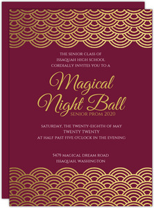 Elegant Red & Gold Foil Scallop Prom Invitation