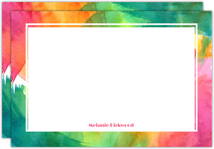 Colorful Watercolor Art Personalized Notecard
