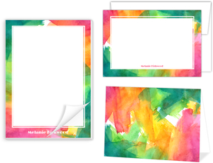 Colorful Watercolor Art Stationery Set