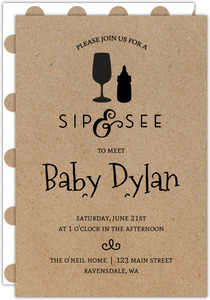 Bottle Icons Sip and See Printable Baby Shower Invitation