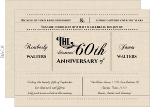 Western Love 60Th Diamond Wedding Anniversary Invitation