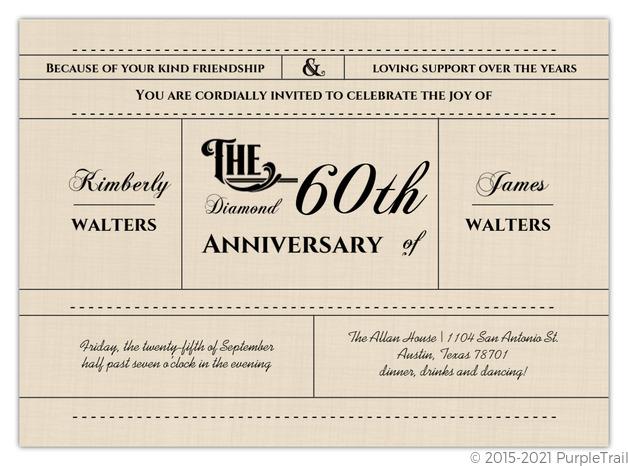 Western Love 60th Diamond Wedding Anniversary Invitation