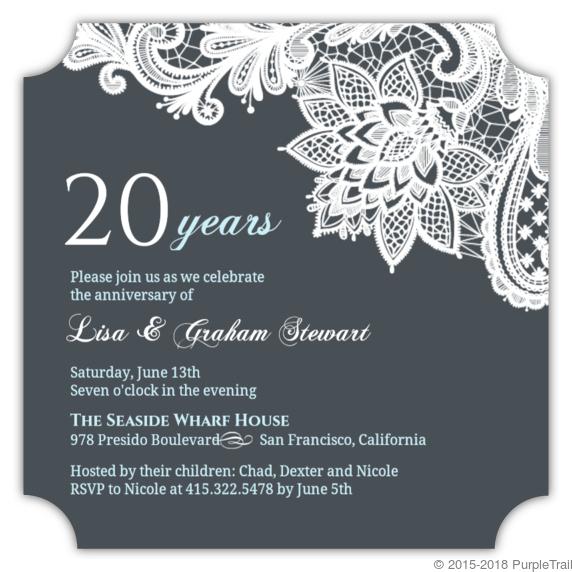 White Lace 20th Anniversary Invitation | Anniversary Invitations