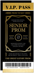 Golden Gatsby VIP Prom Ticket Invitation