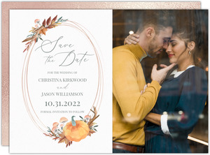 Faux Rose Gold Pumpkin Frame Save The Date