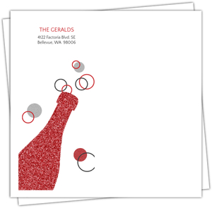 Red And Silver Glitter Bubbly Champagne Envelope