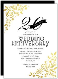Formal Gold Foil Florals 20th Anniversary Invitation