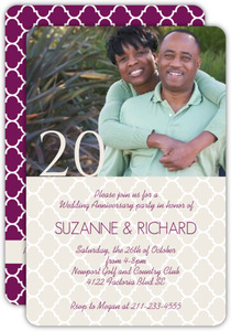 Cream and Purple 20th Anniversary Invitation
