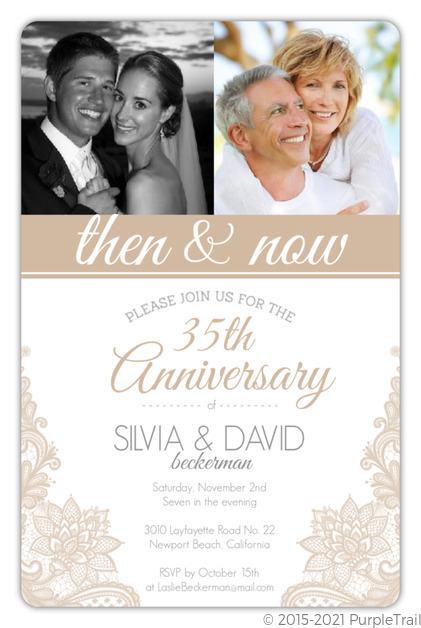 Beige Lace 35th Wedding Anniversary Invitation 35th Anniversary