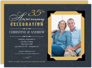 Yellow Vintage Frame 35th Anniversary Invitation
