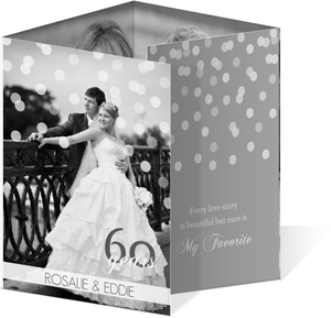 Gray and White Confetti Diamond 60th Anniversary Invitation