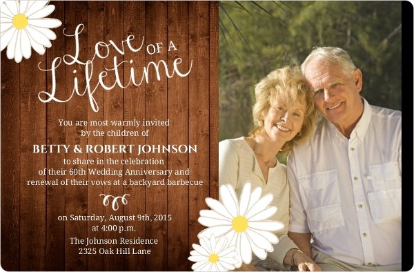 Rustic Wood Grain Flower 60th Anniversary Invitation