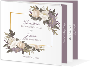 Pumpkin Autumn Floral Wedding Booklet Invitation
