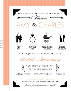 Black And Peach Modern Icons Timeline 60Th Anniversary Invitation