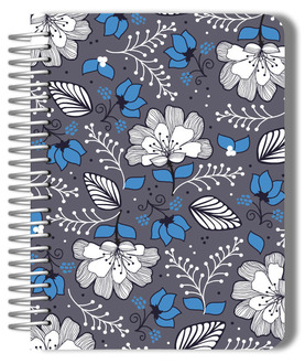 Gray & Blue Floral Pattern Custom Planner