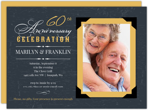 Yellow Vintage Frame 60th Anniversary Invitation