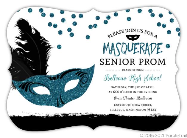 Black Turquoise Masquerade Prom Invitation